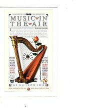 "Unframed Art Poster 'Music In The Air"" Concert Ad Harp Rose Butterfly (m106)"