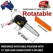 ROTATABLE 9T POLESAW POLE SAW HEAD W/BAR CHAINSAW COVER BRUSHCUTTER HEDGETRIMMER
