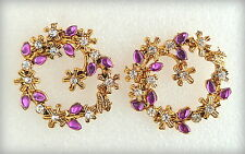 Vintage antique golden flowers & petals stud earrings/designer fashion jewelry