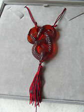 A FABULOUS LALIQUE SERPENT / SNAKE RED GLASS NECKLACE