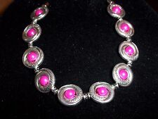 Tibetan SILVER Hot PINK Pearl Bead Bracelet MAGNETIC Clasp A-23 Quality Jewelry