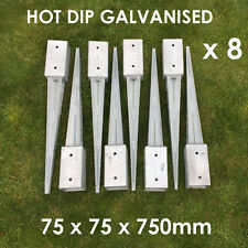 8 FENCE POST SPIKE HOLDER 75MM GARDEN DRIVE IN FENCE SPIKE METAL HOLDERS STAKES