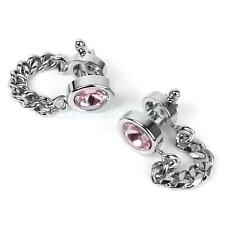 Men Wrap Around Silver Chain Pink Crystal Cuff Links Cufflinks WEDDING GIFT