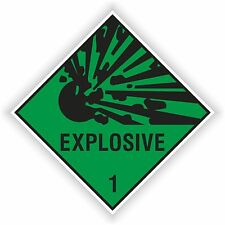 1x EXPLOSIVE GREEN sticker Explosion warning danger BUMPER DECAL 10x10cm=4x4""
