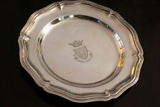 Dish style Louis XV silver metal signed CHRISTOFLE pattern coat of arms arms