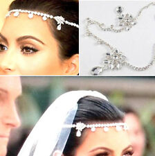 Head Piece Silver Floral Diamante Hair Band Headwear Headband Bridal Rhinestone