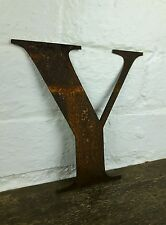 Y Rusty Rusted Steel Metal Letter Industrial Sign Garden Decoration Ornament