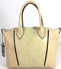 New Designer Large Ladies Womens Leather Style Tote Shoulder Bag Handbag Beige