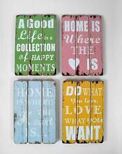 Quadro decorazione parete legno, vintage, shabby chic, 4 motivi
