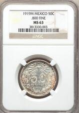 MEXICO ESTADOS UNIDOS 1919 50 CENTAVOS COIN CERTIFIED UNCIRCULATED NGC MS-63