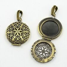aromatherapy necklace Antique Bronze Filigree solid Perfume Scent Locket 856x