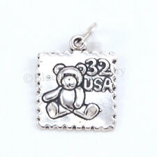 TEDDY BEAR POSTAL STAMP 32 USA Charm Pendant Solid 925 Sterling Silver Cute!