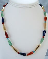 """18"""" Egyptian Style Necklace of Carnelian, Lapis, Aventurine & Gold-Plated Beads"""