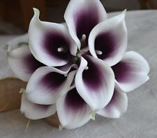10 Picasso Plum Purple Calla Lilies Real Touch Flowers for Silk Bridal Bouquets
