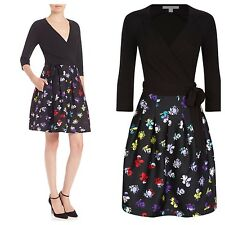 NWT SZ.6 $598 DIANE VON FURSTENBERG Jewel Combo Wrap Dress DVF Black Daisy Buds