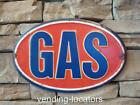 GAS Metal Oval Gasoline Service Station Garage Man Cave Motor Oil Texaco Mobil