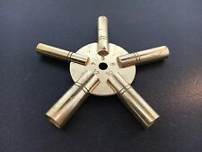 Universal Brass Clock Winding Key 5 Prong Even Sizes Made in USA