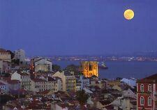 Ansichtskarte: Lissabon ,Blick über die Altstadt und den Tejo bei Vollmond