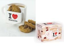 I Love Biscuits Mug novelty cookie pocket mug white ceramic teatime mug gift