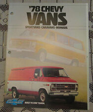 '78 Chevy Vans Sales Brochure has holes for binder