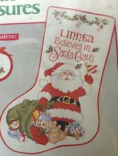 Santa Claus Cross Stitch Christmas Stocking Kit I Believe in Needle Treasury VTG