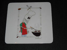 Day of the Dead Halloween Miniature Art Drink Coaster Skeleton BBQ Cook at Grill