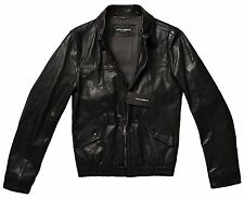 DOLCE & GABBANA Classic Leather Jacket, Black SMALL 44 (IT) ITALY $2795