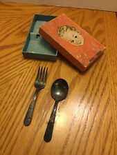 Baby Fork and Spoon Set Holmes and Edwards Silver Plate Tarnished W/original Box
