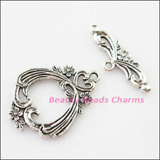 3Sets Tibetan Silver Heart Flower Bracelet Toggle Clasps Connectors