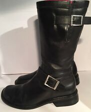 "Naturalizer Sz 7.5 M ""ROCKIN"" Black Leather Riding Moto Calf Boot Low Heel Great"