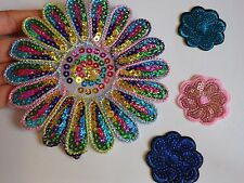 4 sequin applique patch motif embrodiered hotfix iron sew on embellishment UK