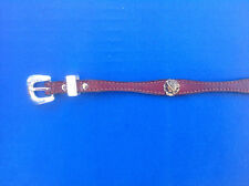 """Western Rodeo Cowboy Decor Top Grain Red/Brown Leather Rose HAT BAND 1/2"""" Wide"""