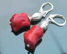 Stunning Silver 925 Bead and Irregular shape Red Coral Beads 925 Silver Earrings