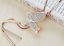 18k GP Rose Yellow Gold use Swarovski Crystal Butterfly Sweater chain Necklace
