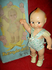 "JOINTED 12"" antique compo Rose O'Neill Cameo KEWPIE doll 1925 orig sunsuit & box"
