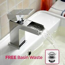 OZONE SQUARE WATERFALL BATHROOM BASIN SINK MONO MIXER CHROME TAP *FREE WASTE*