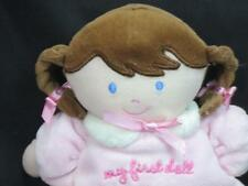 CARTER'S CHILD OF MINE MY 1ST BABY RATTLE PINK FLOWERS PIGTAILS BROWN HAIR PLUSH