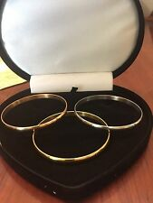 WOMENS 14K & STS ROSE GOLD YELLOW GOLD CUFF BANGLE BRACELET SET OF 3 SZ 9 INCH