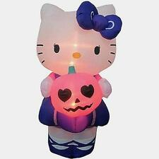 5' Gemmy Airblown Inflatables Hello Kitty Holding Pumpkin Halloween Yard Decor