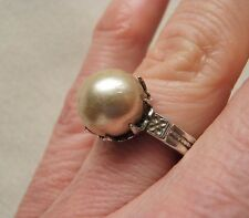 MARVELOUS RARE ANTIQUE OSBEE OSTBY BARTON FLORAL ETCHED STERLING PEARL RING