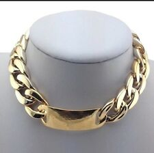 Boho Statement Chunky Choker Gold Tone Bib Necklace Plastic Curb Chain Link