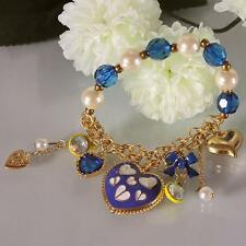 NEW Women Bow Heart Betsey Johnson Crystal Gem Pearl Gold Plate Bracelet BJBR040