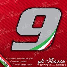 Adesivo Stickers NUMERO 9 moto auto cross gara Grigio & Tricolore 5 cm