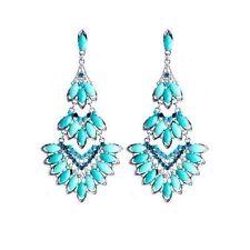 Fashion Earrings Women Crystal Mosaic Bohemian Glamor Chandelier Tortoise Blue