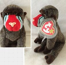 "New 1999 Ty Beanie Baby ""Cheeks"" Baboon Monkey Plush Stuffed Animal 8.25"""