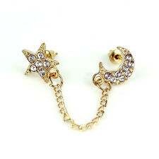 1pc Charms Mini Crystal Moon&Star Double Ear Holes Chain Piercing Stud Earrings