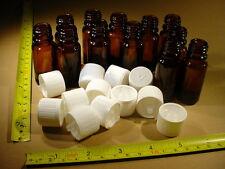 12 x Flasche 10ml Braunglas mit Deckel Weiss ( kindergesichert ) + Tropfeinsatz