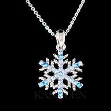 w Swarovski Crystal Blue SNOWFLAKE Snow Xmas bridal Holiday Necklace Jewelry New