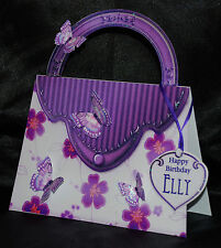 HAND-MADE PERSONALISED FEMALE PURPLE FLORAL HANDBAG BIRTHDAY/AGE CARD
