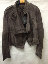 Muubaa Women's Taupe Buffed Leather Biker Jacket. RRP £289. UK 8.